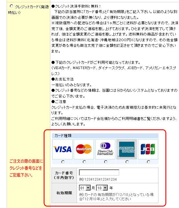 クレジット支払方法